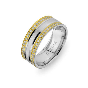 White and Yellow Gold West Wedding Band w/ Twin Line Diamonds