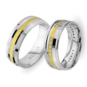 White and Yellow Gold Sureyya Wedding Band w/ Diamonds