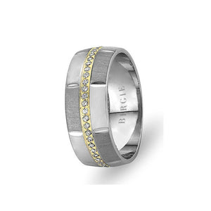 White and Yellow Gold Pervin Wedding Band w/ Diamonds
