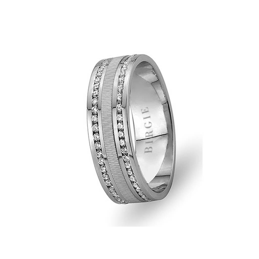 White Gold Seretan Wedding Band w/ Twin Line Diamonds
