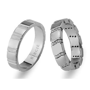 White Gold Cedy Wedding Band w/ Diamonds