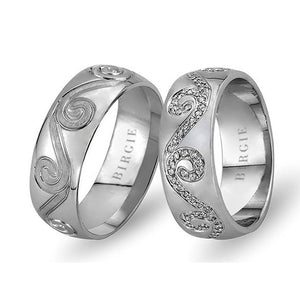 White Gold Floral Wedding Band w/ Diamonds
