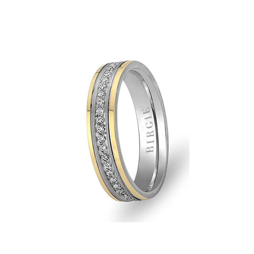 White and Yellow Gold Martinique Wedding Band w/ Diamonds