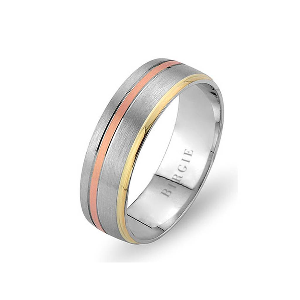 White, Rose and Yellow Gold Bali Wedding Band