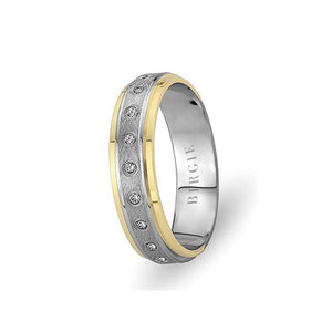 White and Yellow Gold Barbados Wedding Band w/ Diamonds