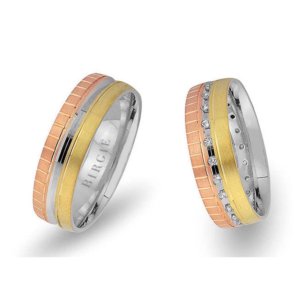 White and Yellow Gold Paris Wedding Band w/ Diamonds