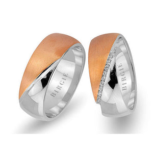 White and Rose Gold Maldives Wedding Band w/ Diamonds