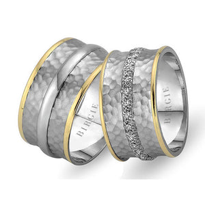 White and Yellow Gold Sumerian Wedding Band w/ Diamonds