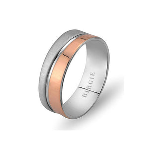 White and Rose Gold Barbuda Wedding Band