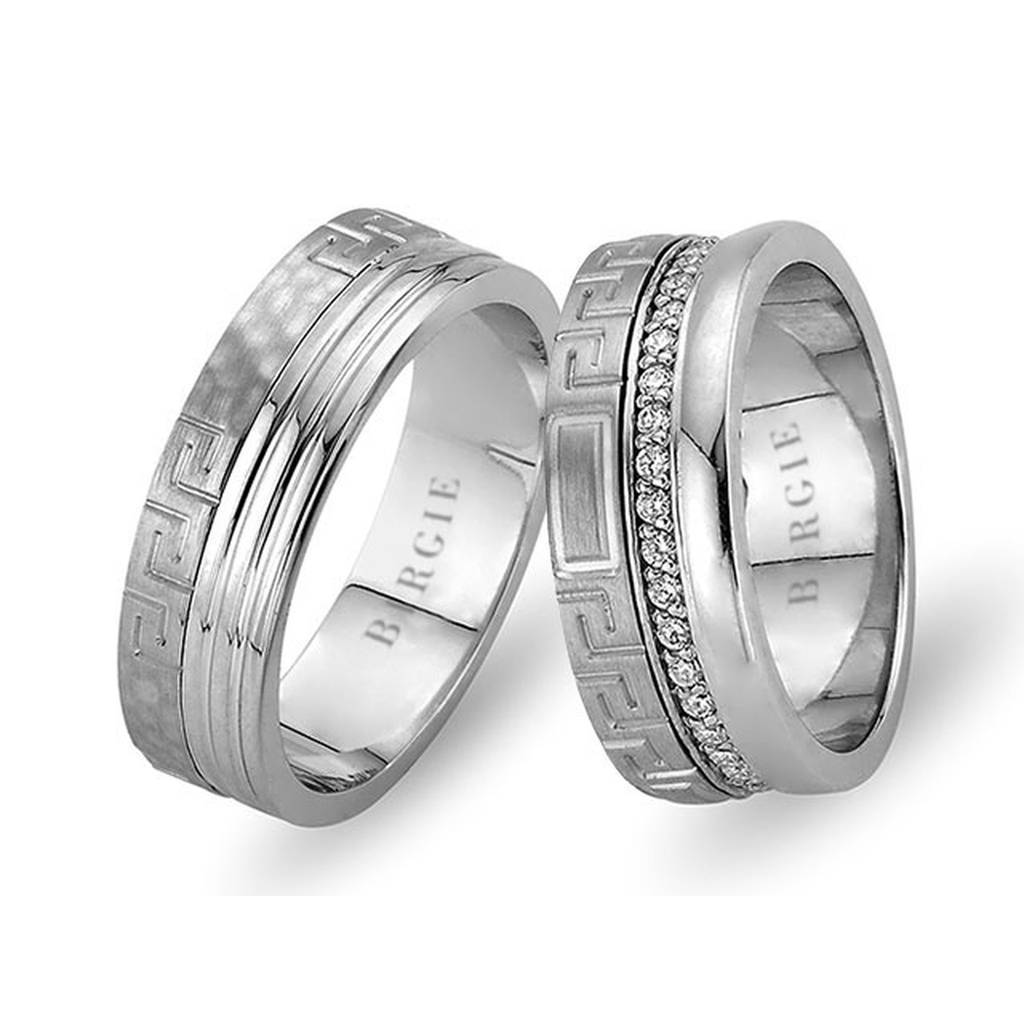 White Gold Hittite Wedding Band w/ Diamonds