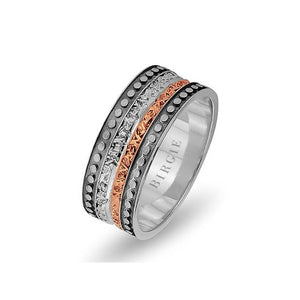 White and Rose Gold Assyrian Wedding Band