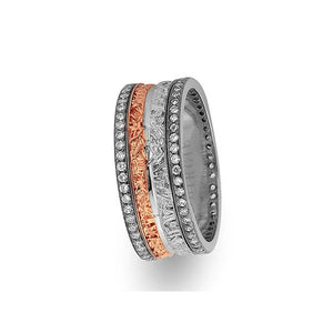 White and Rose Gold Assyrian Wedding Band w/ Twin Line Diamonds