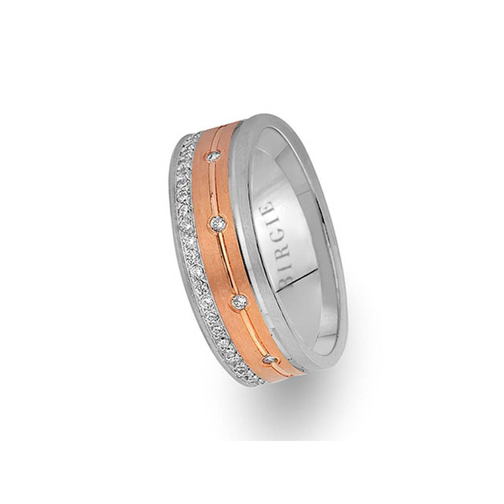 White and Rose Gold Luwian Wedding Band w/ Diamonds