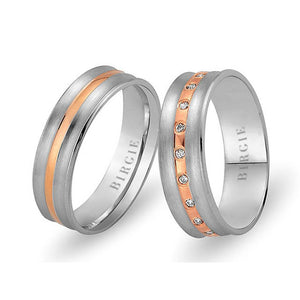 White and Rose Gold Caria Wedding Band w/ Diamonds