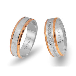 White and Rose Gold Ionia Wedding Band w/ Diamonds