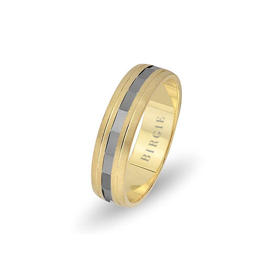 White and Yellow Gold Seleucid Wedding Band
