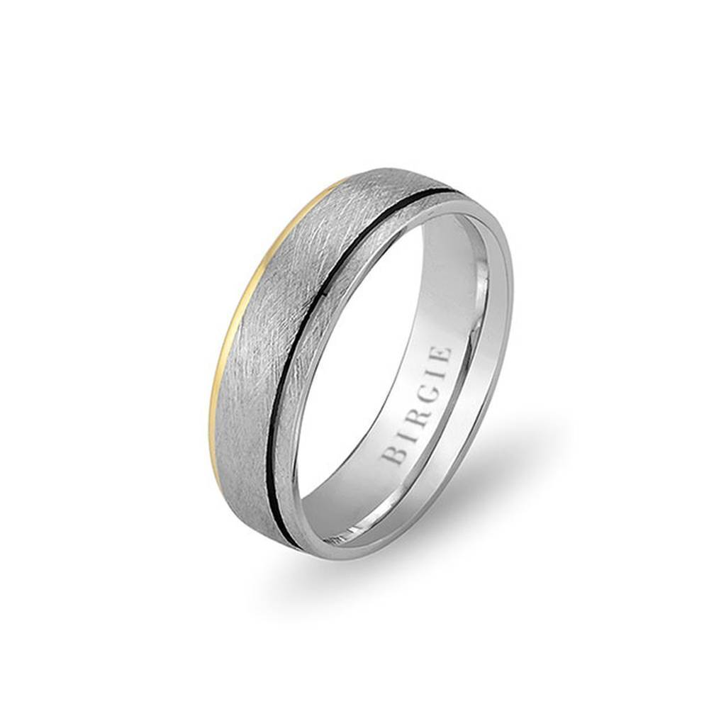 White and Yellow Gold Birdcage Wedding Band