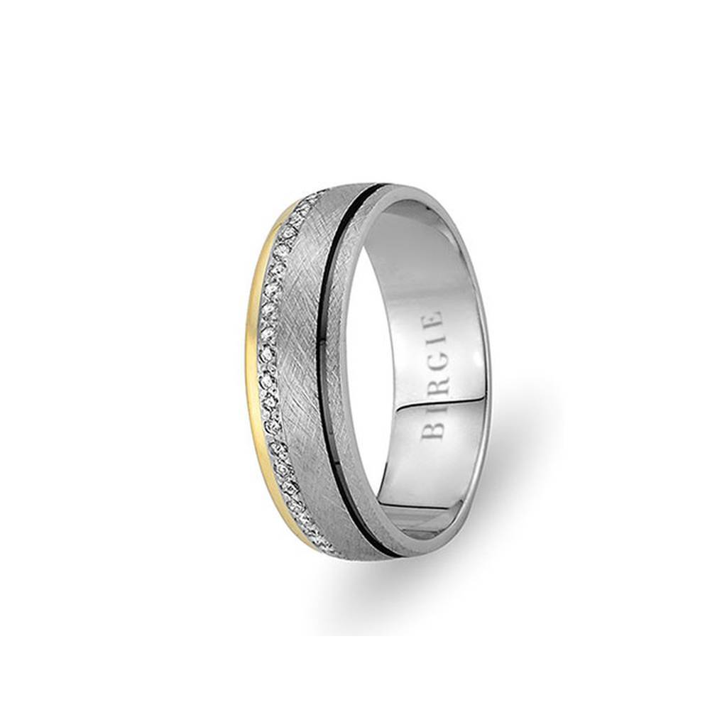 White and Yellow Gold Birdcage Wedding Band w/ Diamonds