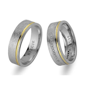 White and Yellow Gold Tarabya Wedding Band w/ Diamonds