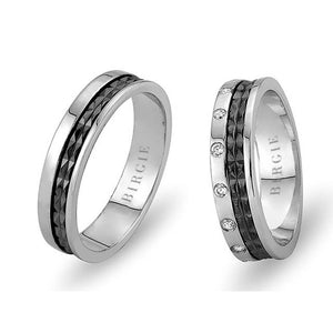 White Gold 2 Coloured Neva Wedding Band w/ Diamonds