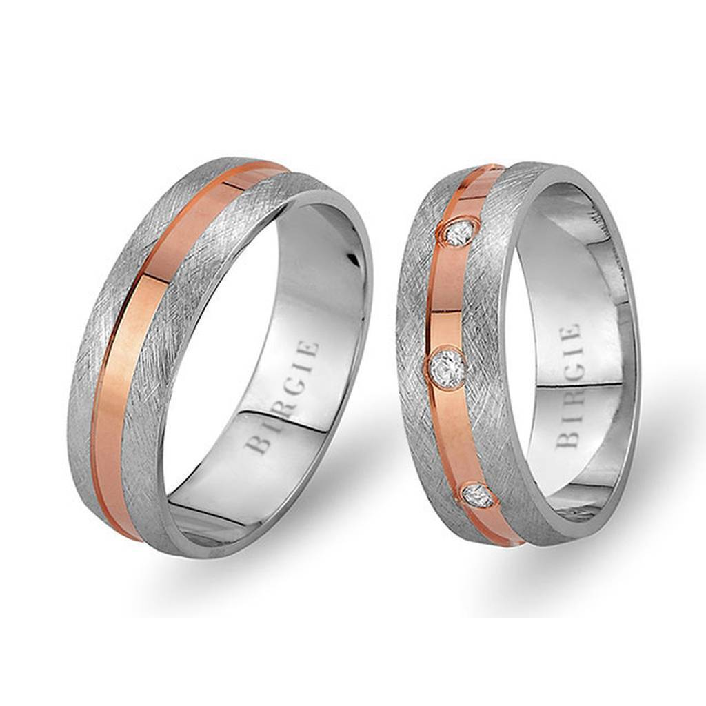 White and Rose Gold Galata Wedding Band w/ Diamonds