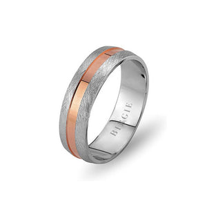White and Rose Gold Galata Wedding Band