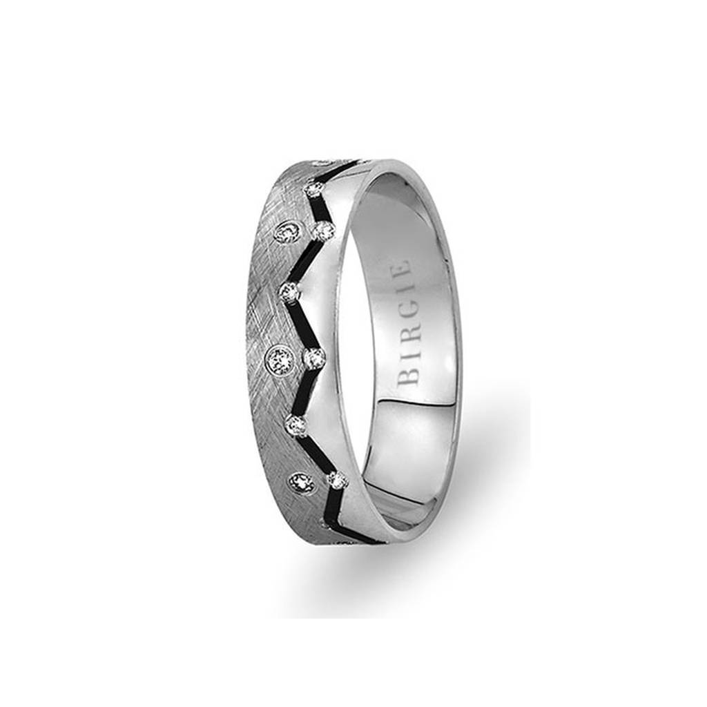 White Gold 2 Coloured Pera Wedding Band w/ Diamonds