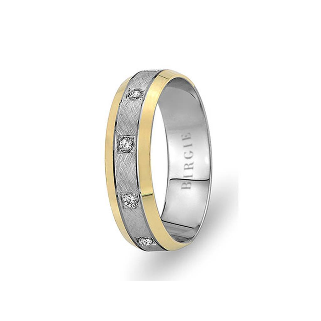 White and Yellow Gold Samatya Wedding Band w/ Diamonds