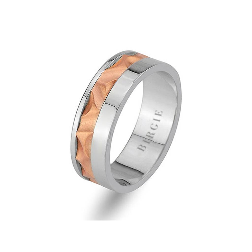 White and Rose Gold Golden Horn Wedding Band
