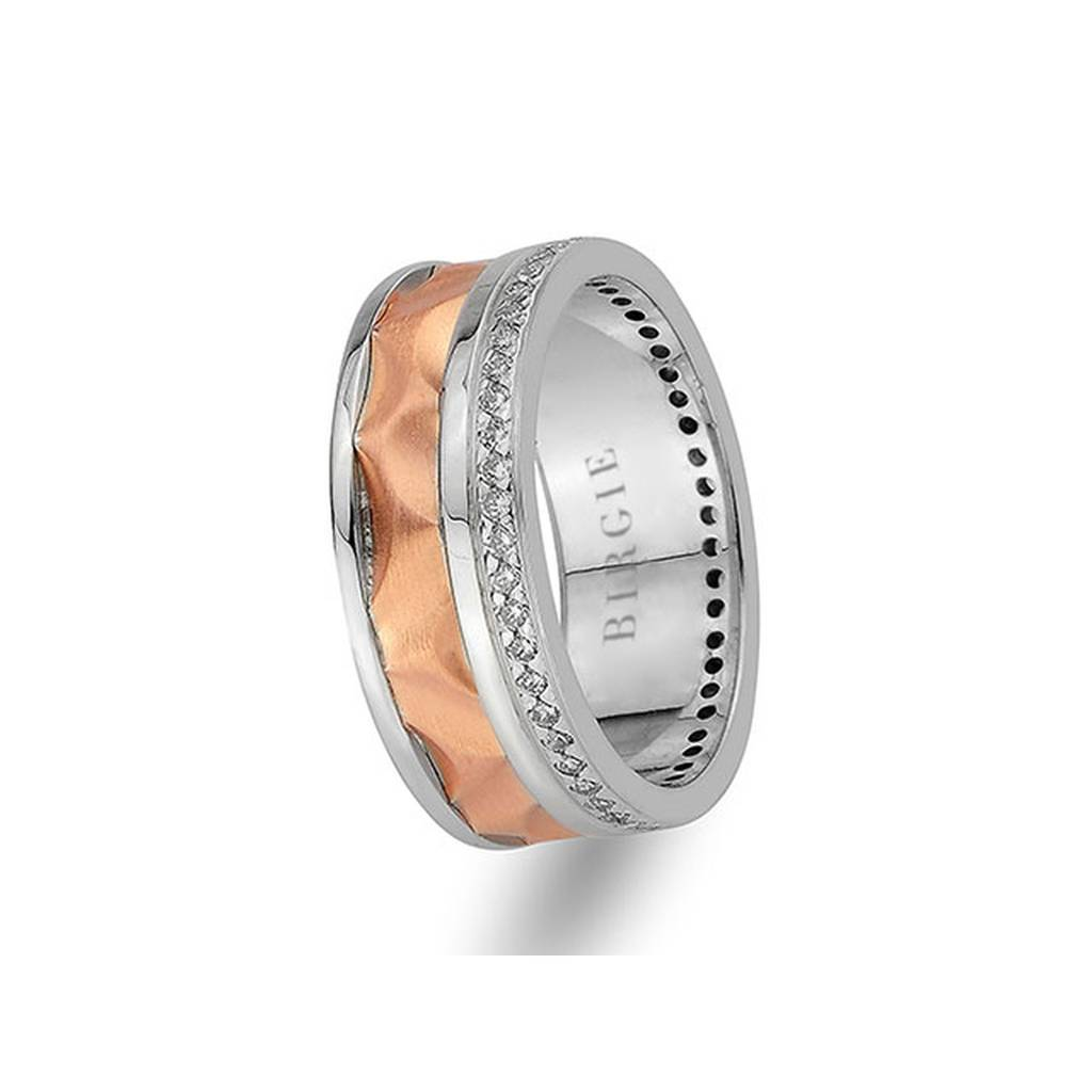 White and Rose Gold Golden Horn Wedding Band w/ Diamonds