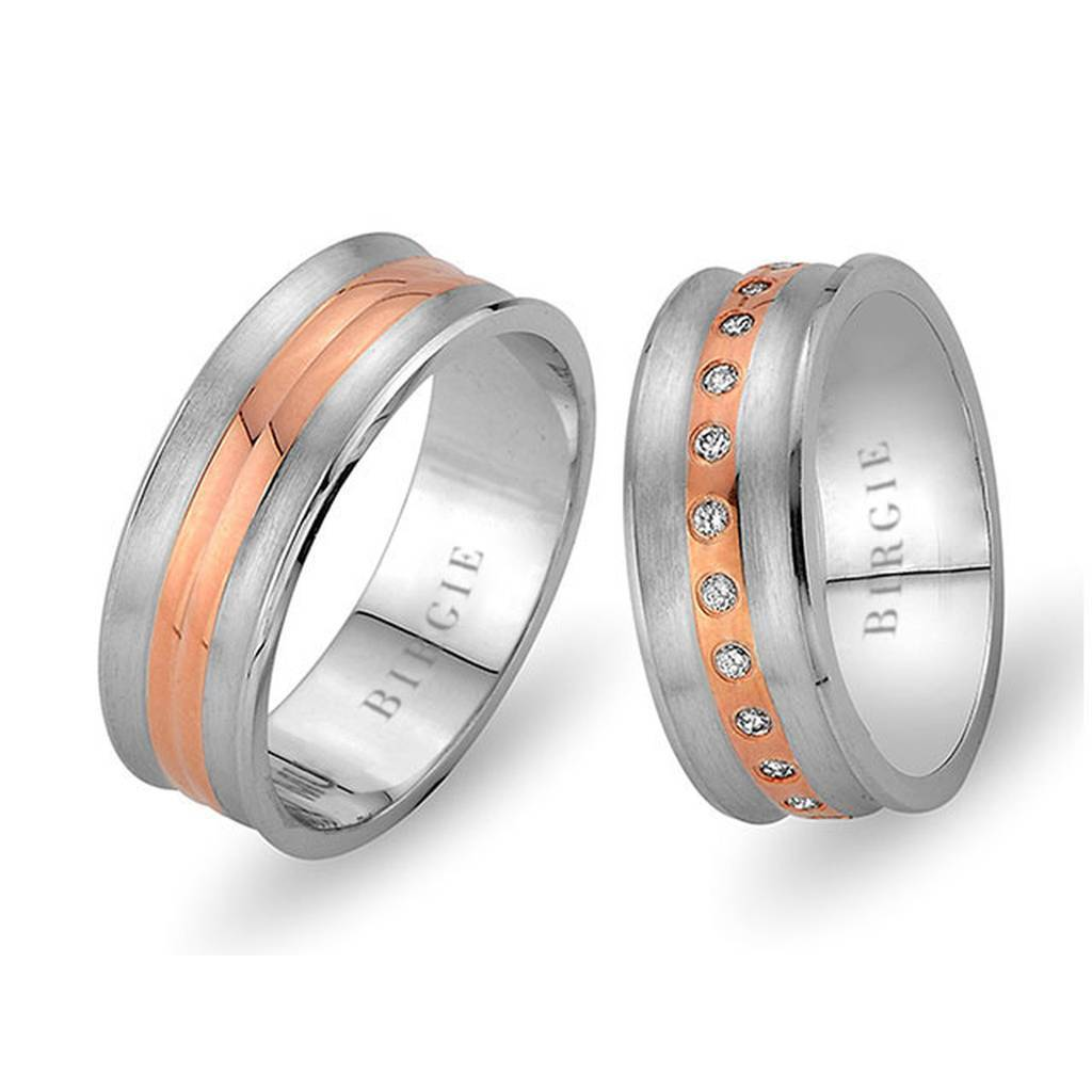 White and Rose Gold Coral Wedding Band w/ Diamonds