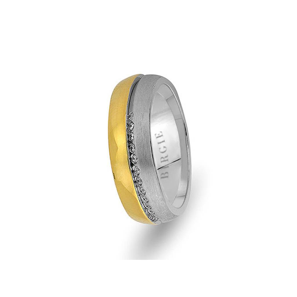 White and Yellow Gold Fulya Wedding Band w/ Diamonds