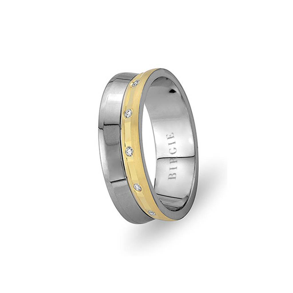 White and Yellow Gold Visnezade Wedding Band w/ Diamonds