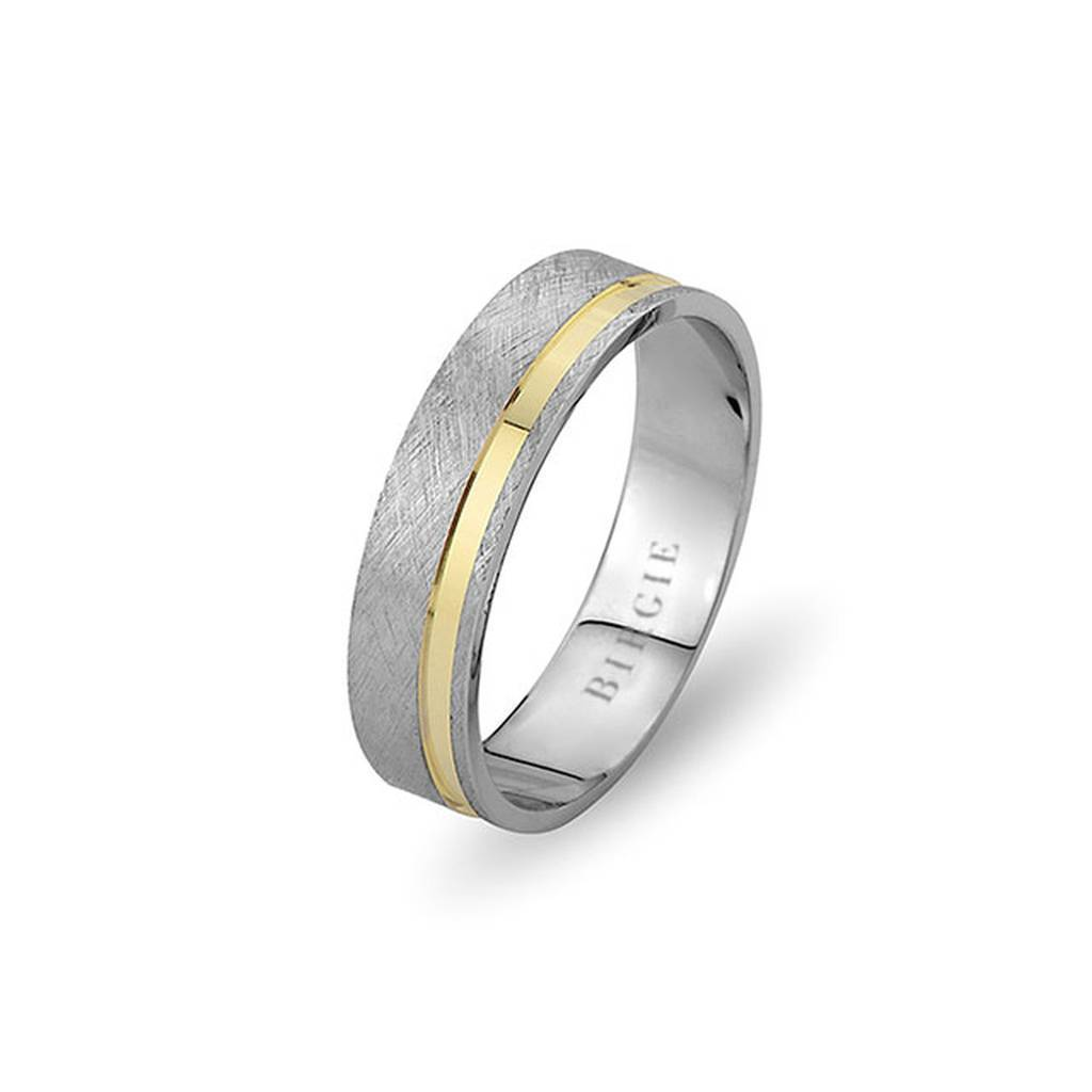 White and Yellow Gold Birdtongue Wedding Band