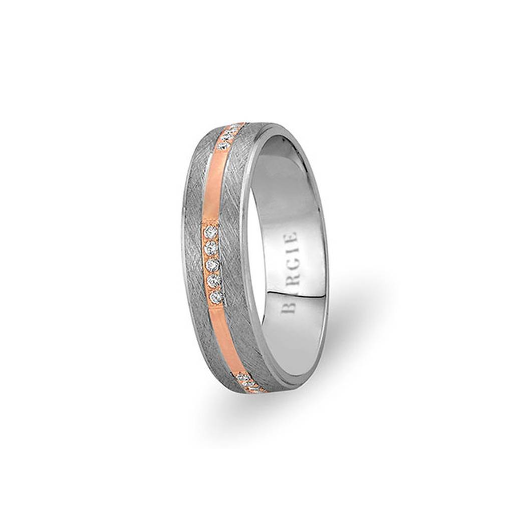 White and Rose Gold Gulbahar Wedding Band w/ Diamonds