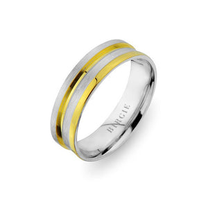White and Yellow Gold Grooved Riva Wedding Band