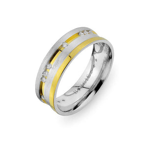 White and Yellow Gold Grooved Riva Wedding Band w/ Diamonds