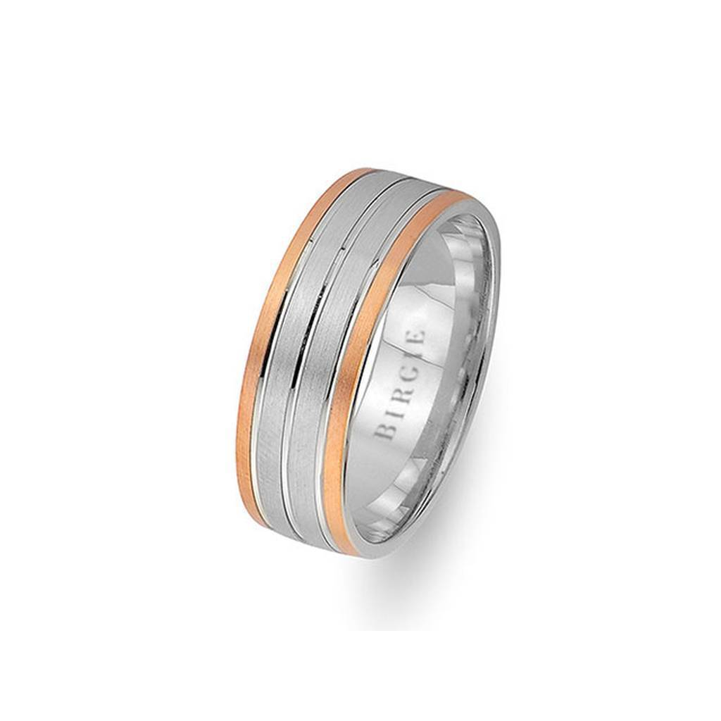White and Rose Gold Merve Wedding Band