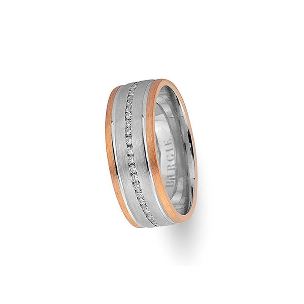 White and Rose Gold Merve Wedding Band w/ Diamonds