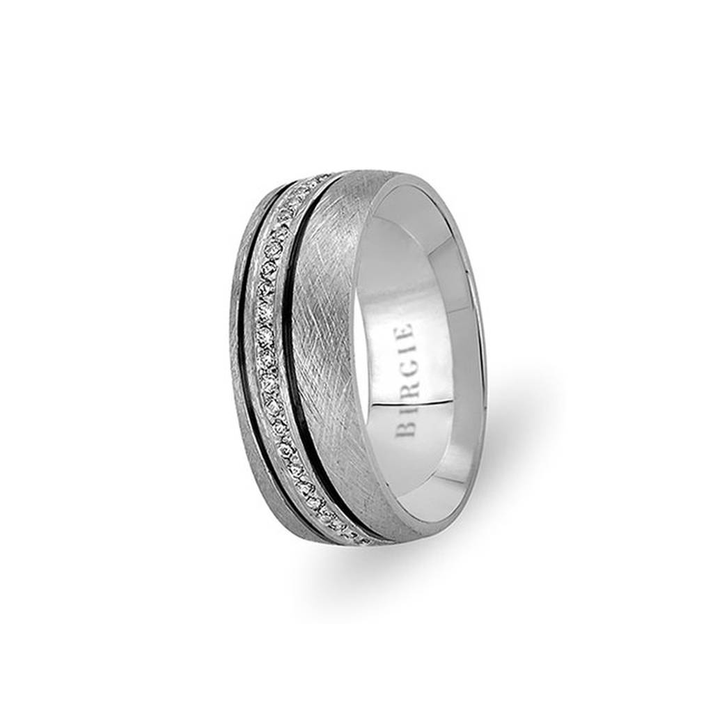 White Gold Bebek Wedding Band w/ Diamonds