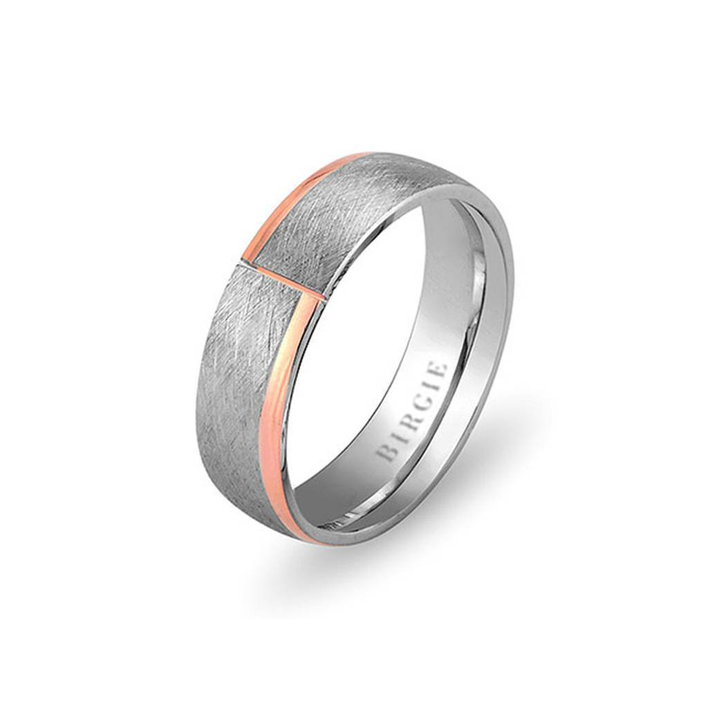 White and Rose Gold Crocus Wedding Band