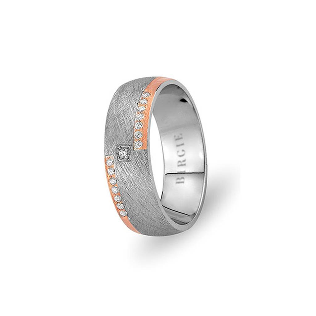 White and Rose Gold Crocus Wedding Band w/ Diamonds