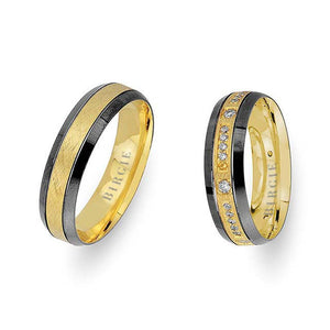 Yellow Gold 2 Coloured Atolia Wedding Band w/ Diamonds