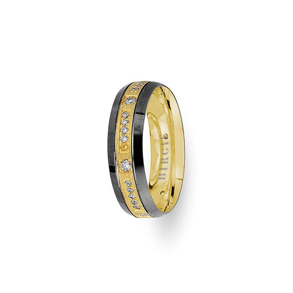 Yellow Gold 2 Coloured Anatolia Wedding Band w/ Diamonds