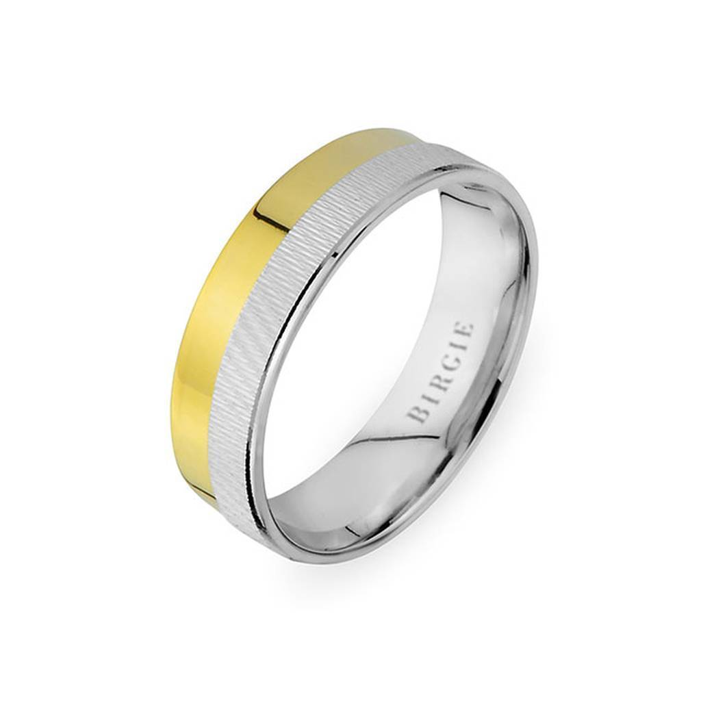 White and Yellow Gold Selimiye Wedding Band
