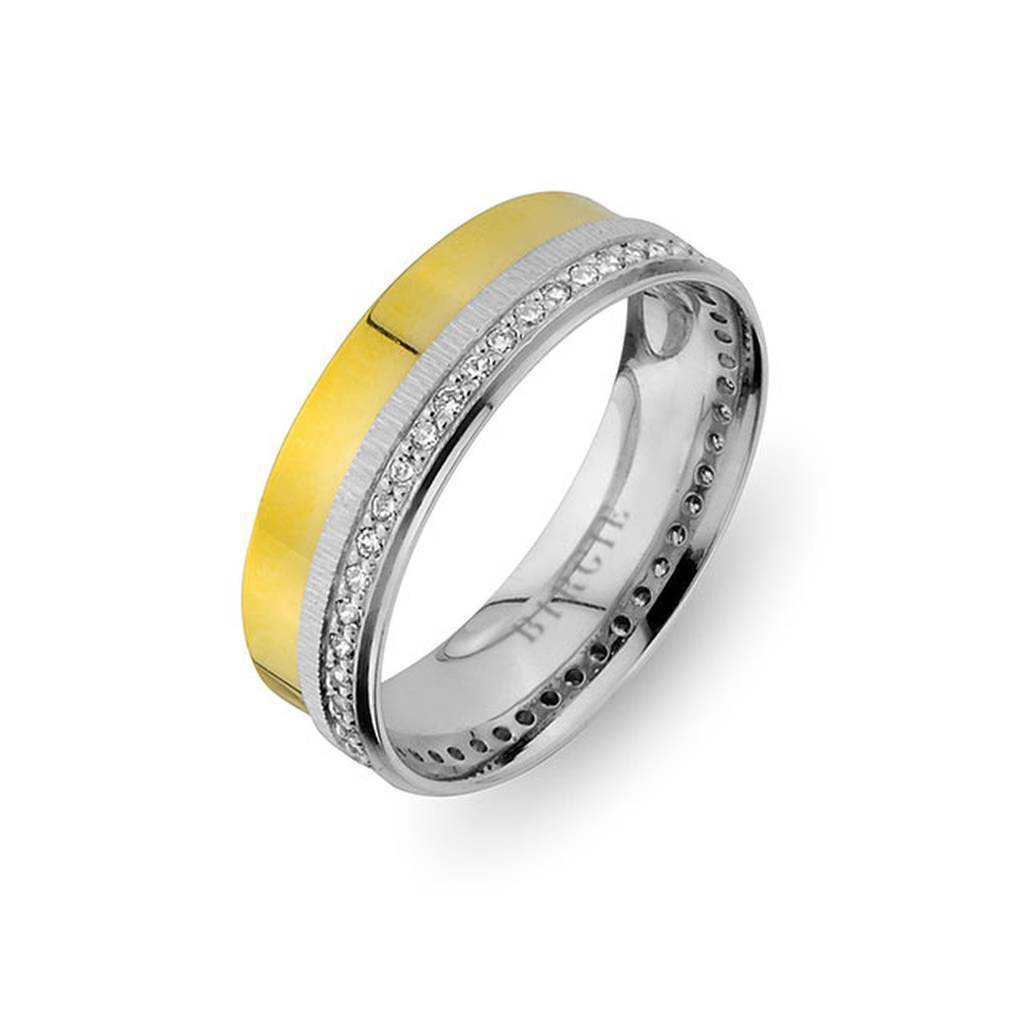 White and Yellow Gold Selimiye Wedding Band w/ Diamonds