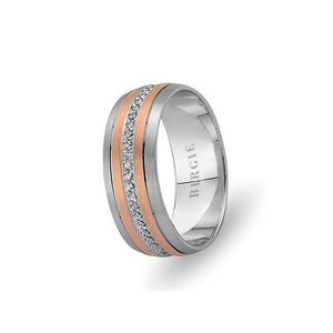 White and Rose Gold Nurbanu Wedding Band w/ Diamonds