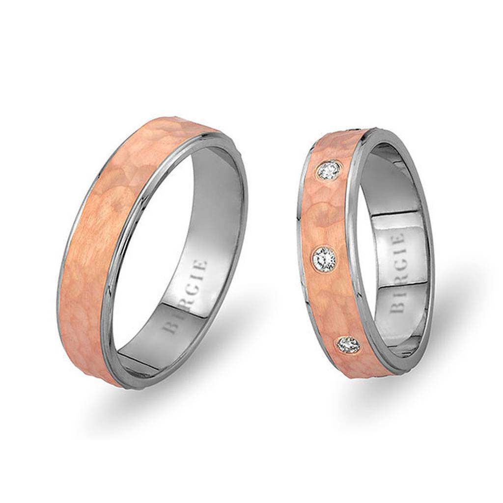 White and Rose Gold Nymphea Wedding Band w/ Diamonds
