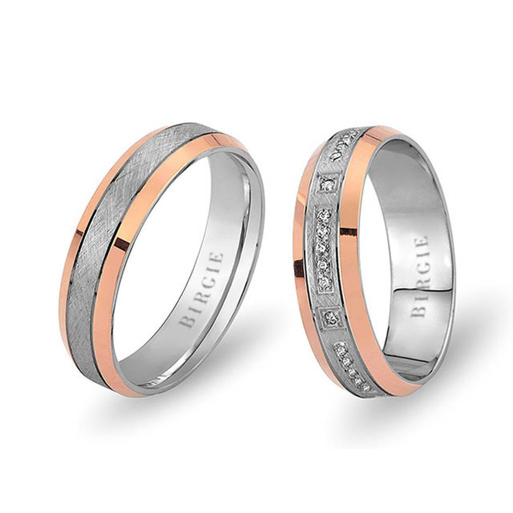 White and Rose Gold Huma Wedding Band w/ Diamonds