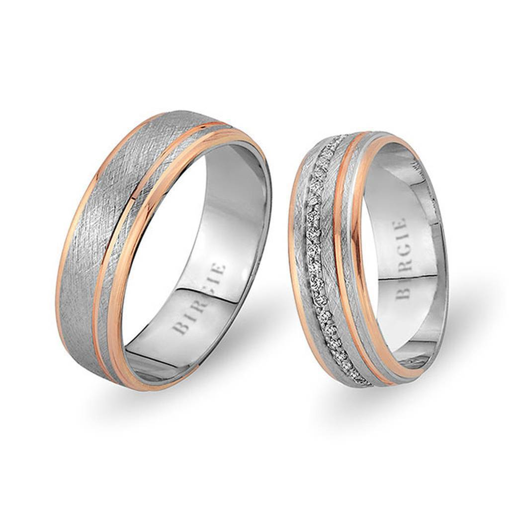 White and Rose Gold Mara Wedding Band w/ Diamonds